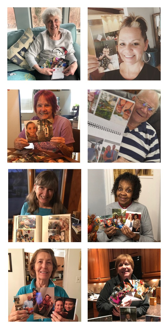 A photo strip of 8 NanaGrammers holding their photo deliveries plus Grandpa Cook holding some lobsters.